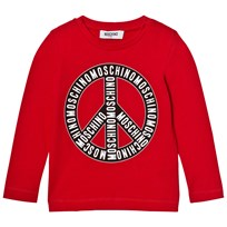 Moschino Kid-Teen Red Branded Peace Long Sleeve Tee 50109