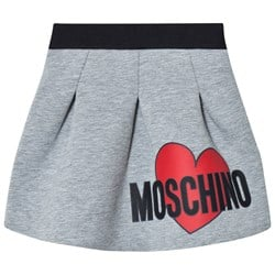 Moschino Kid-Teen Heart Print Neoprene Kjol Grå