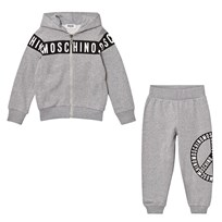Moschino Kid-Teen Grey Branded Peace Sweat Set 60901