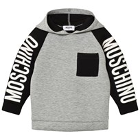 Moschino Kid-Teen Grey/Black Branded Sleeve Neoprene Hoodie 60901
