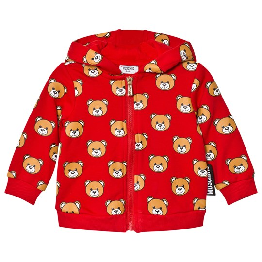 Moschino Kid-Teen Red Bear Print Hoodie 82147