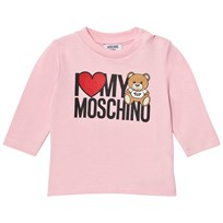 Moschino Kid-Teen Heart Branded Bear Long Sleeve Tee Pink 50186