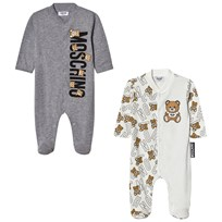 Moschino Kid-Teen 2-Pack Footed Baby Body All Over Bear Grey Gift Box Set 81997
