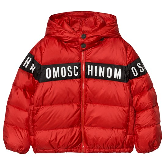Moschino Kid-Teen Red Branded Down Puffer Coat 50109