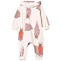 Mini Rodini Bats Onesie Light Grey Black