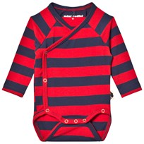 Mini Rodini Blockstripe Omlott Baby Body Röd Red