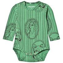 Mini Rodini Fox Family Baby Body Grön Green