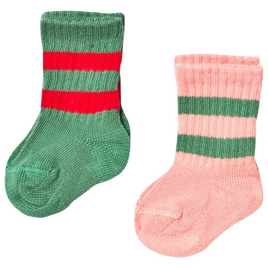 Mini Rodini 2 Pack Stripe Sock Pink/Green Pink