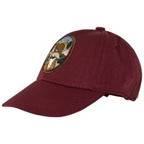 Mini Rodini Fox Embroidered Cap Burgundy Red