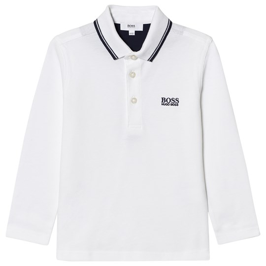 BOSS White Long Sleeve Branded Polo