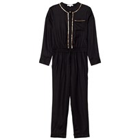 Chloé Black/Gold Twill Embroidered Jumpsuit 09B