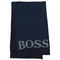 BOSS Navy Knit Branded Scarf 849