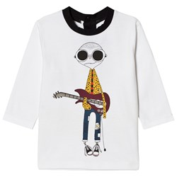 The Marc Jacobs White Mr Marc Guitar Print Long Sleeve Tee