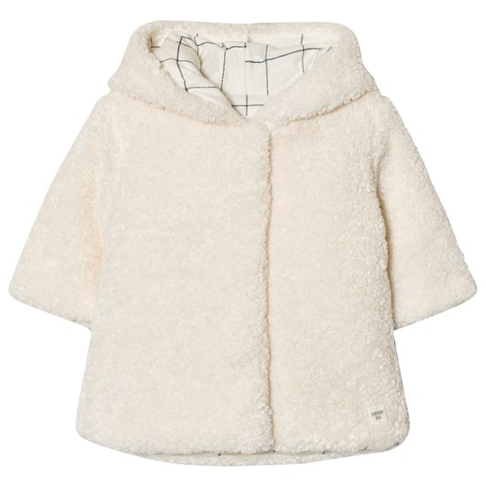 Carrément Beau Cream Teddy Hooded Jacket 121