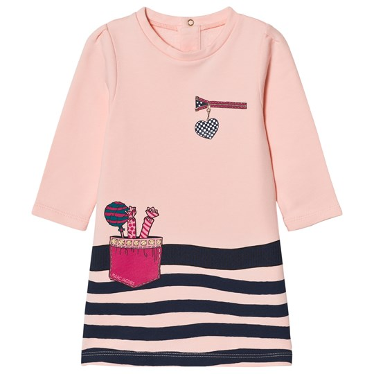 Little Marc Jacobs Pink/Navy Stripe Print Dress 455