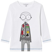 Little Marc Jacobs White Mr Marc Racing Car Driver Print Tee 10B