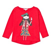 Little Marc Jacobs Red Miss Marc Print Long Sleeve Tee 96E