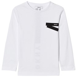 DKNY White and Black Branded Long Sleeve Tee