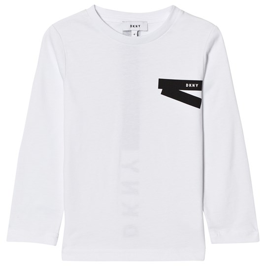 DKNY White and Black Branded Long Sleeve Tee 10B