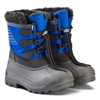 Armani Junior Blue and Grey Branded Snow Boots 00633
