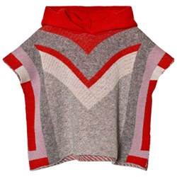 Stella McCartney Kids Red and Grey Bianca Knit Cape with Hood
