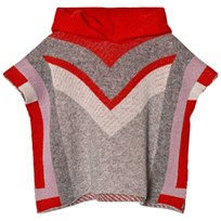 Stella McCartney Kids Red and Grey Bianca Knit Cape with Hood 1461