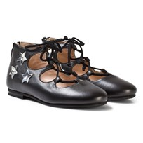Il Gufo Black Star Applique Lace Up Pumps Nappacolor Nero