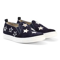 Il Gufo Navy Suede and Leather Star Slip Ons Velour Bleu
