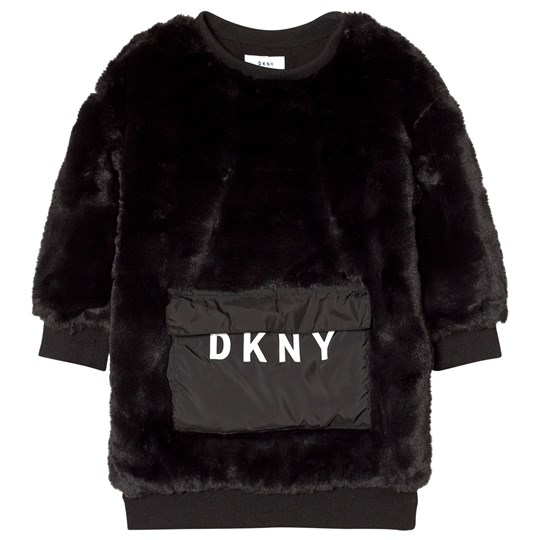 DKNY Black Faux Fur Dress with Branded Pocket 09B