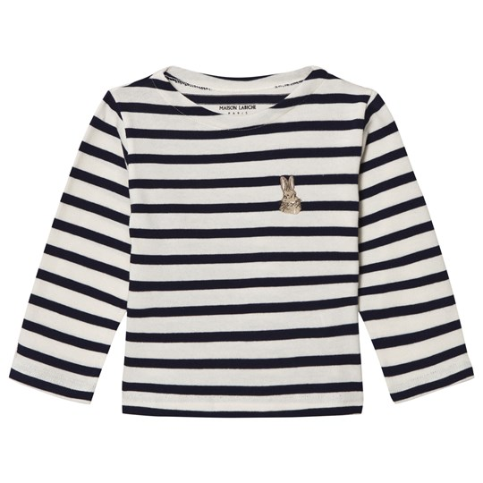 Maison Labiche Navy Bunny Embroidered Stripe Long Sleeve Tee CLASSIQUE