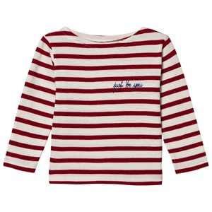 Image of Maison Labiche Just Be You Embroidered Long Sleeve Tee Red White 10 years (2743735959)