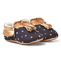 Catimini Black and Rose Gold Crib Shoes 02