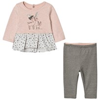 Catimini Pink Animal Print Spot Ruffle Top and Reversible Leggings Set 32
