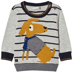 Catimini Dog and Stripe Knit Sweater