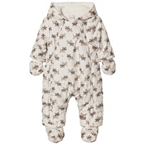 Catimini Unisex Cream Tiger Print Teddy Lined Snowsuit and Mittens and Booties 12