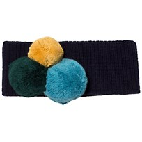 Il Gufo Navy and Multi Pom Pom Knit Headband 4957