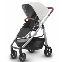 UPPAbaby CRUZ Stroller Loic (White) - Silver Frame With Leather Silver