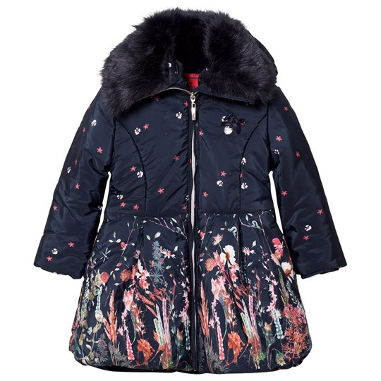Le Chic Flower Print Long-Line Jacket Navy 190