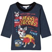 Little Marc Jacobs Blue French Bulldog Branded Print Tee J50