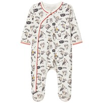 Little Marc Jacobs Footed Baby Body Owl Print Off White 117