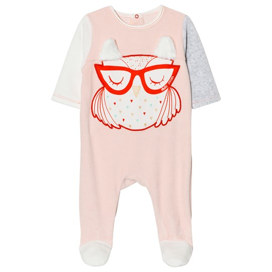 Little Marc Jacobs Footed Baby Body Owl Applique Pink Velour 455