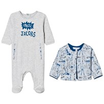 Little Marc Jacobs Footed Baby Body Pale Blue Jersey and Reversible Jacket Gift Box A10