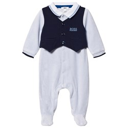 BOSS Footed Baby Body Branded Outfit Pale Blue