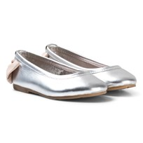 Carrément Beau Silver Bow Back Ballet Pumps 016