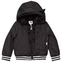 Karl Lagerfeld Kids Black Nylon Hooded Jacket with Faux Fur Lining 09B