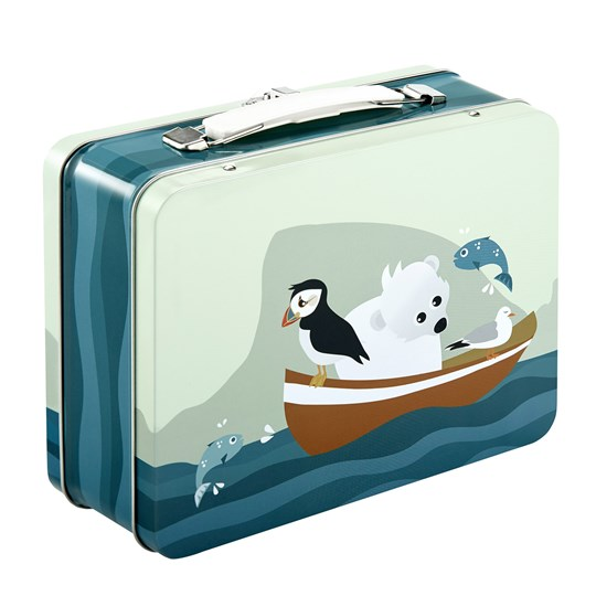 Blafre Tin Suitcase Puffin Blue