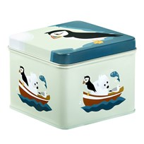Blafre Small Tin Box, Puffin Blue