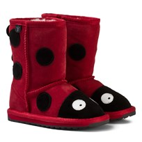 Emu Australia Red Suede Ladybird Boots with Merino Lining Red