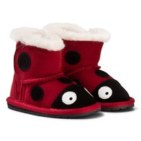 Emu Australia Red Suede Ladybird First Walker with Merino Lining Red