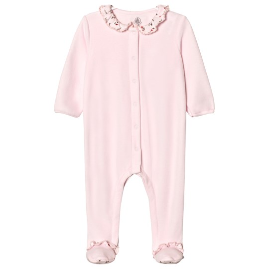 Petit Bateau Pink Floral Footed Baby Body Pink